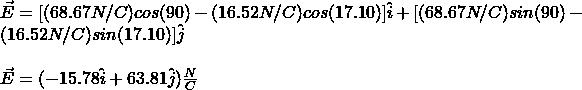 \vec{E}=[(68.67N/C)cos(90\°)-(16.52N/C)cos(17.10\°)]\hat{i}+[(68.67N/C)sin(90\°)-(16.52N/C)sin(17.10\°)]\hat{j}\\\\\vec{E}=(-15.78\hat{i}+63.81\hat{j})\frac{N}{C}