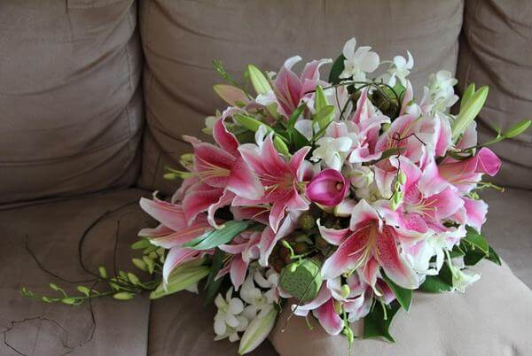 Bouquet of lily flowers, birthday friends and colleagues