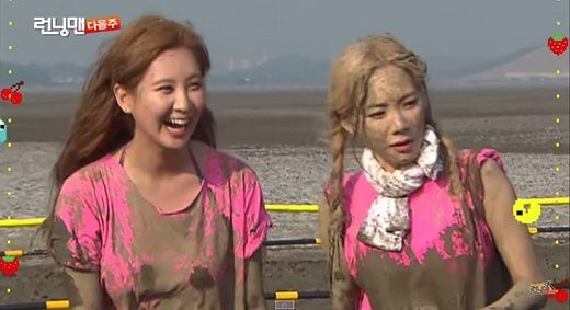 Running man episodes with SNSD, The girls had a mud bath in episode 254