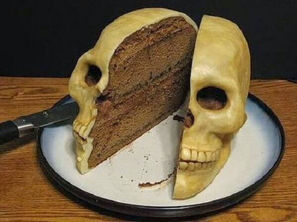 Skull shaped birthday cake